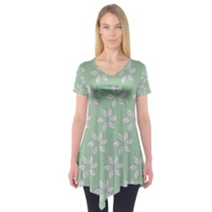 Pink Flowers On Light Green Short Sleeve Tunic