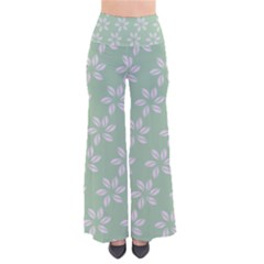 Pink Flowers On Light Green Pants