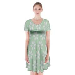 Pink Flowers On Light Green Short Sleeve V-neck Flare Dress
