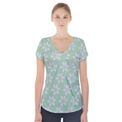 Pink Flowers On Light Green Short Sleeve Front Detail Top