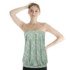 Pink Flowers On Light Green Strapless Top