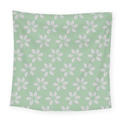 Pink Flowers On Light Green Square Tapestry (large)