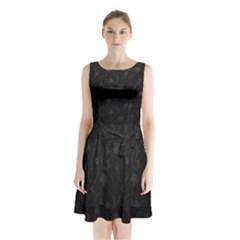 Dark silvered flower Sleeveless Chiffon Waist Tie Dress