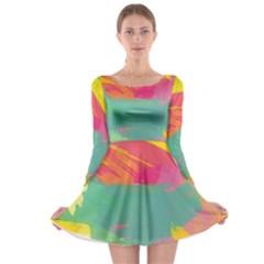 Paint Brush Long Sleeve Skater Dress