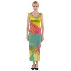 Paint brush Fitted Maxi Dress