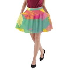 Paint brush A-Line Pocket Skirt