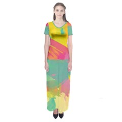 Paint brush Short Sleeve Maxi Dress