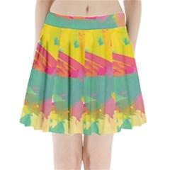 Paint brush Pleated Mini Skirt