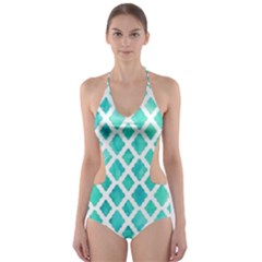 Blue mosaic Cut-Out One Piece Swimsuit