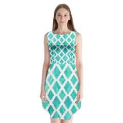 Blue mosaic Sleeveless Chiffon Dress