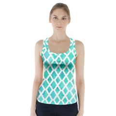 Blue mosaic Racer Back Sports Top
