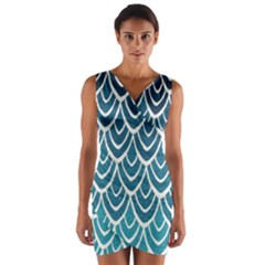 Blue scale  Wrap Front Bodycon Dress