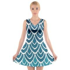 Blue scale  V-Neck Sleeveless Skater Dress