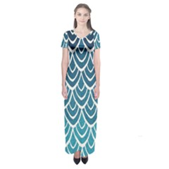 Blue scale  Short Sleeve Maxi Dress