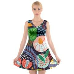 Japanese inspired  V-Neck Sleeveless Skater Dress