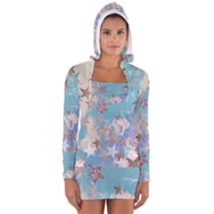 Pastel stars Women s Long Sleeve Hooded T-shirt