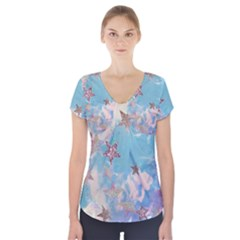Pastel stars Short Sleeve Front Detail Top