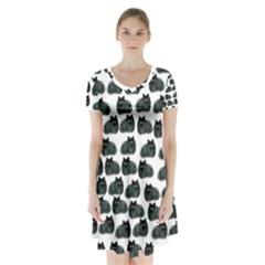 Black cat Short Sleeve V-neck Flare Dress