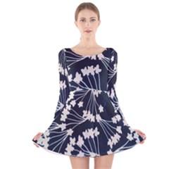 Flower Blue Jpeg Long Sleeve Velvet Skater Dress