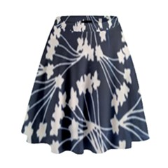 Flower Blue Jpeg High Waist Skirt