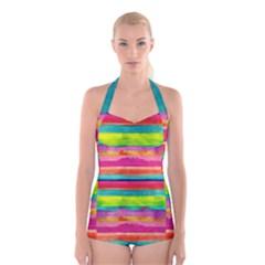 Painted wet  paper Boyleg Halter Swimsuit