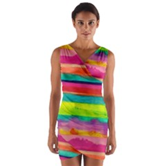 Painted wet  paper Wrap Front Bodycon Dress