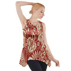 Red Flower White Wallpaper Organic Side Drop Tank Tunic