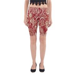 Red Flower White Wallpaper Organic Yoga Cropped Leggings
