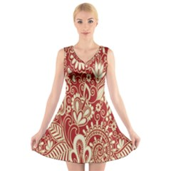Red Flower White Wallpaper Organic V-Neck Sleeveless Skater Dress