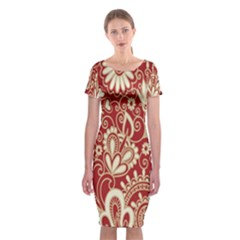 Red Flower White Wallpaper Organic Classic Short Sleeve Midi Dress