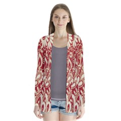 Red Flower White Wallpaper Organic Cardigans