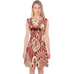 Red Flower White Wallpaper Organic Capsleeve Midi Dress