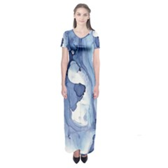Paint in water Short Sleeve Maxi Dress