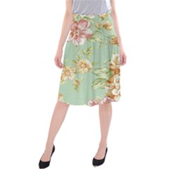 Vintage pastel flowers Midi Beach Skirt