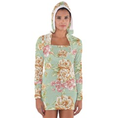 Vintage pastel flowers Women s Long Sleeve Hooded T-shirt