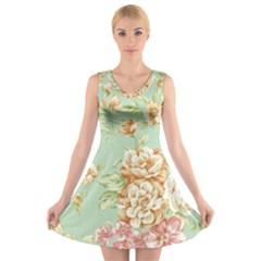 Vintage pastel flowers V-Neck Sleeveless Skater Dress
