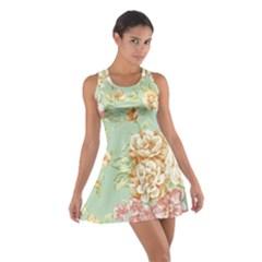 Vintage pastel flowers Cotton Racerback Dress