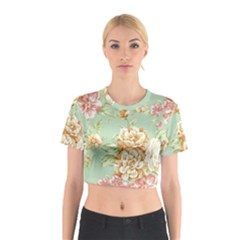 Vintage pastel flowers Cotton Crop Top