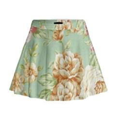 Vintage pastel flowers Mini Flare Skirt