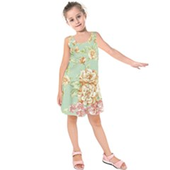 Vintage pastel flowers Kids  Sleeveless Dress