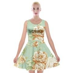 Vintage Pastel Flowers Velvet Skater Dress