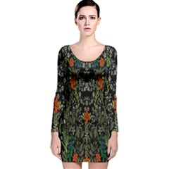 Detail Of The Collection s Floral Pattern Long Sleeve Velvet Bodycon Dress