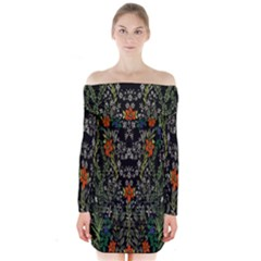 Detail Of The Collection s Floral Pattern Long Sleeve Off Shoulder Dress