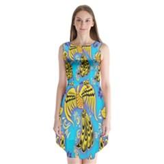 Khokhloma Birds Flowers Sleeveless Chiffon Dress