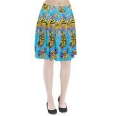 Khokhloma Birds Flowers Pleated Skirt
