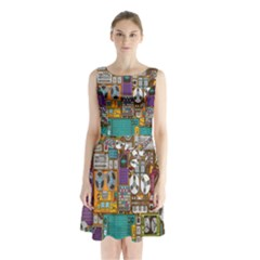 Rol The Film Strip Sleeveless Chiffon Waist Tie Dress