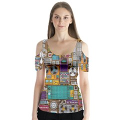 Rol The Film Strip Butterfly Sleeve Cutout Tee