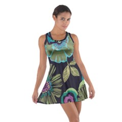 Dark colored lila flowers Cotton Racerback Dress