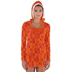 Orange Women s Long Sleeve Hooded T-shirt