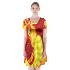 Easter Egg Circle Short Sleeve V-neck Flare Dress